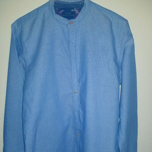 Zara Blue Collarless Men's Oxford Shirt